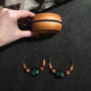 Jewelry - Wooden Bracelet and Stone Earrings Set